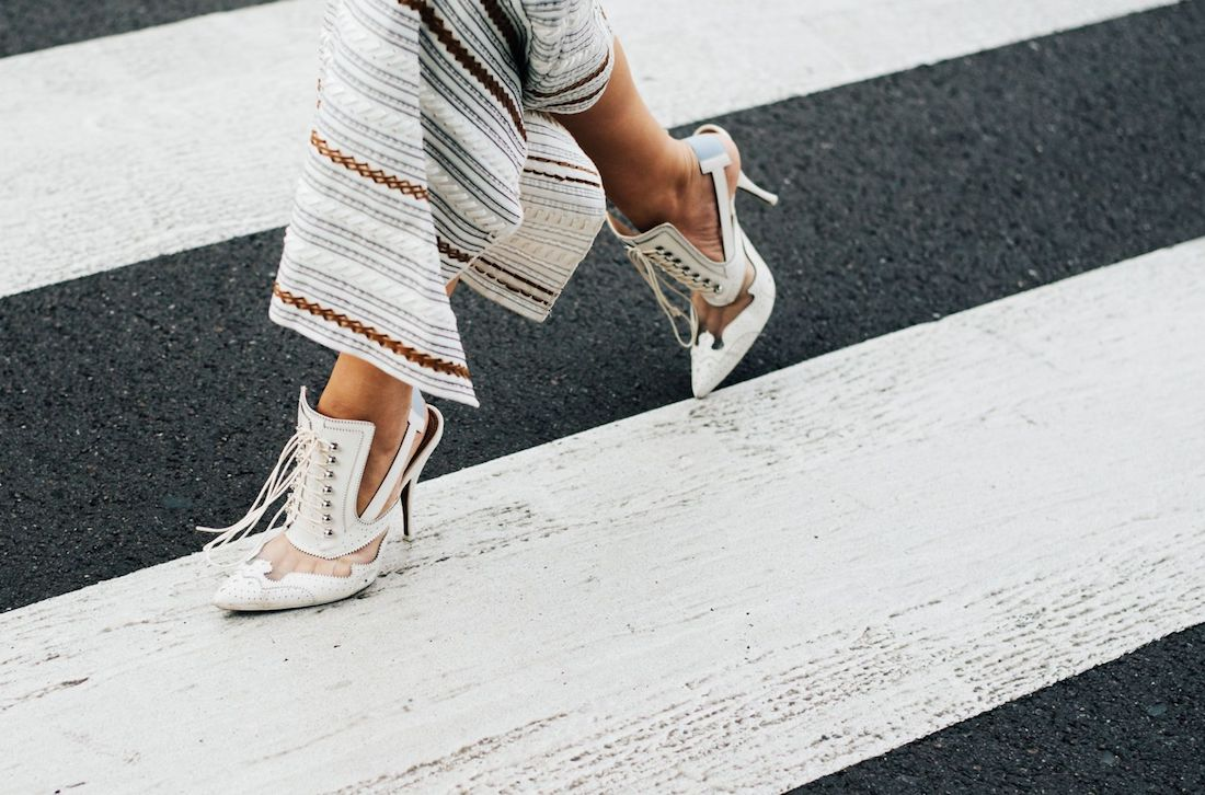 street style high heels asymetric skirt