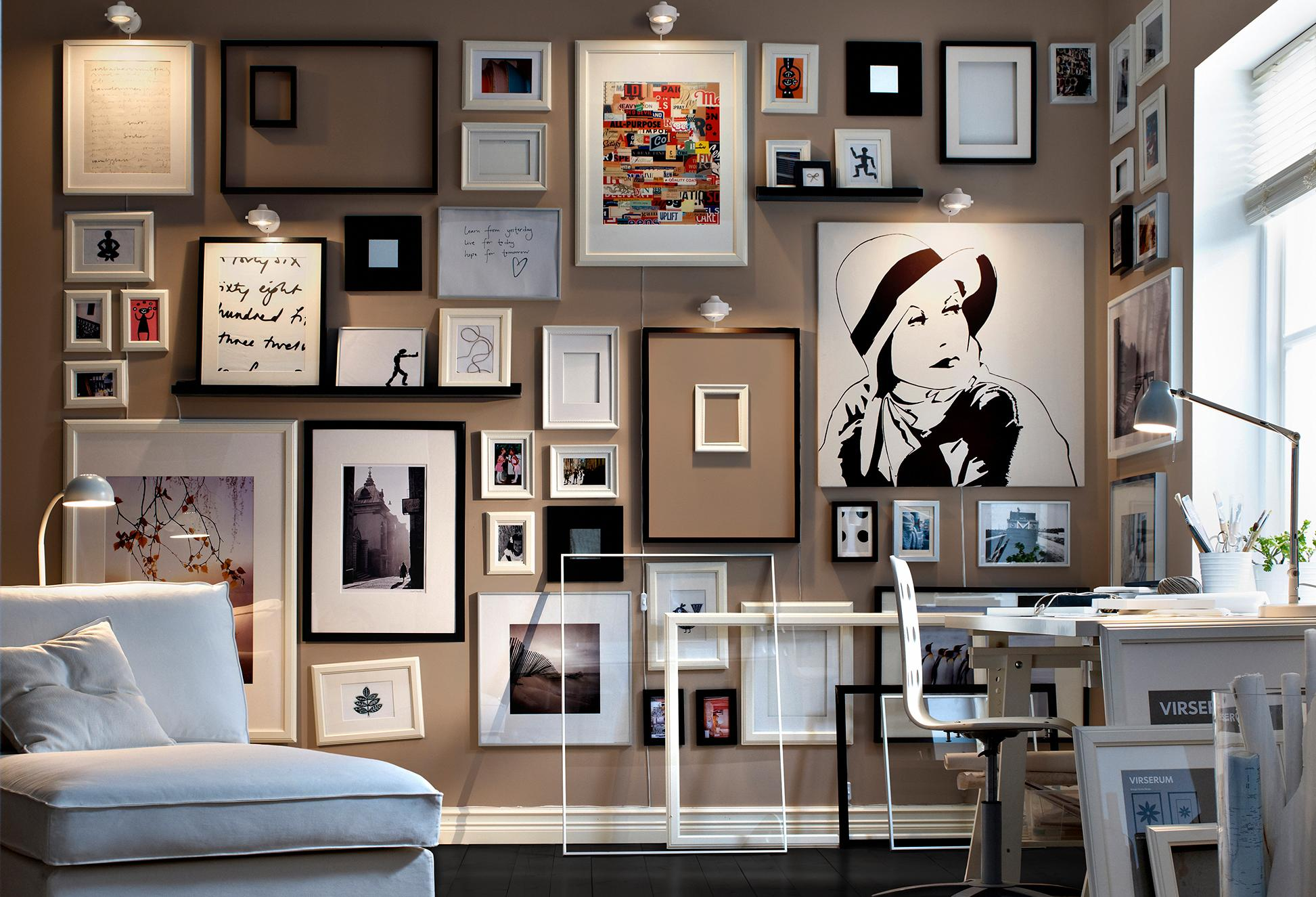 Monochrome framed collection of sketches and art living modern