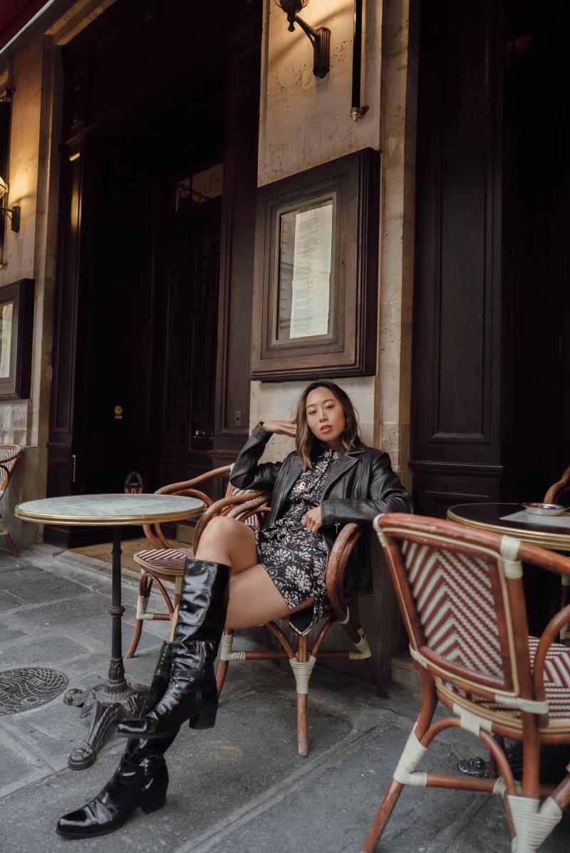 Aimee song of style chanel floral dress frame leather jacekt vintage prada black boots